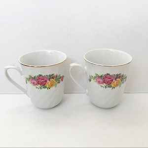 Vintage Regent China English Rose set of two mugs